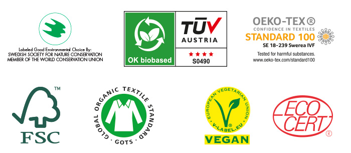 Certified by the world's toughest eco organizations